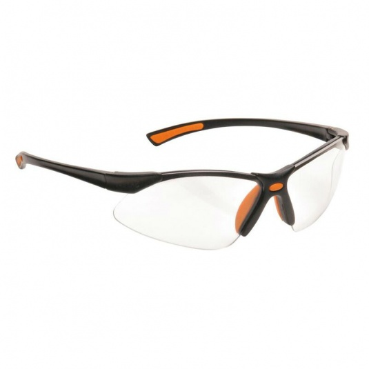 Portwest Clear Lens Bold Pro Safety Glasses with Orange Temples PW37ORR