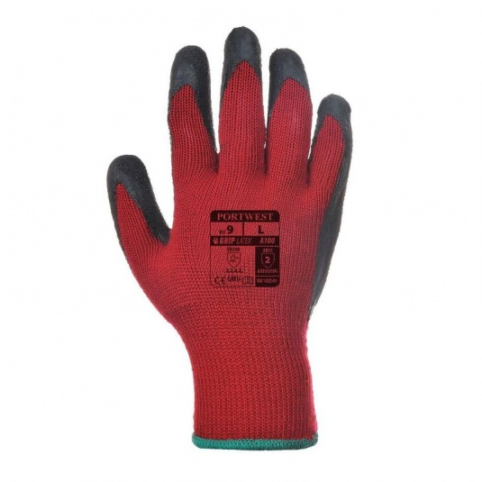 Portwest A100R8 Latex Palm Grip Red and Black Gloves