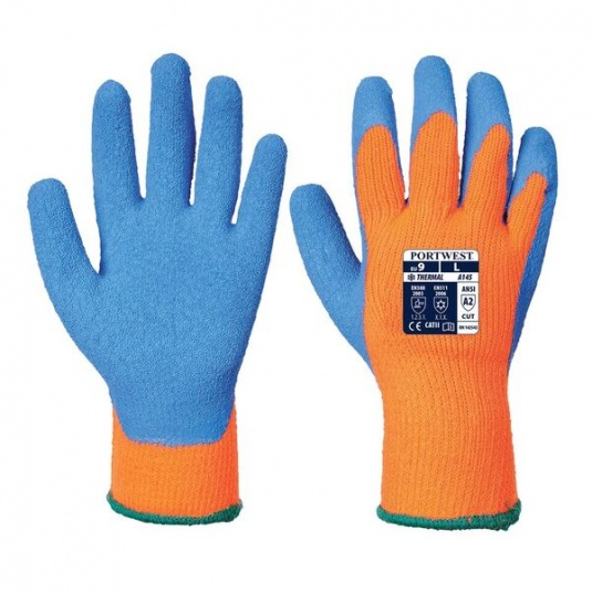 Portwest A145OB Thermal Crinkle Latex Grip Orange and Blue Gloves