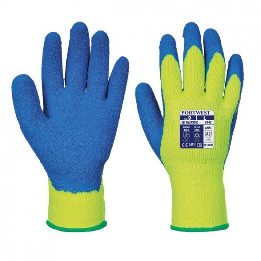 Portwest A145Y4 Thermal Crinkle Latex Grip Yellow and Blue Gloves