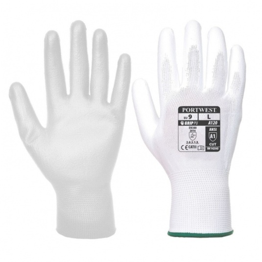 Portwest A120WH PU Palm-Coated All-Round White Gloves