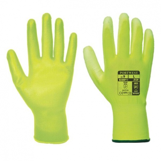 Portwest A120Y2 PU Palm-Coated All-Round Yellow Gloves