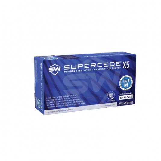 Supercede X5 N05831 Disposable Powder-Free Blue Nitrile Gloves