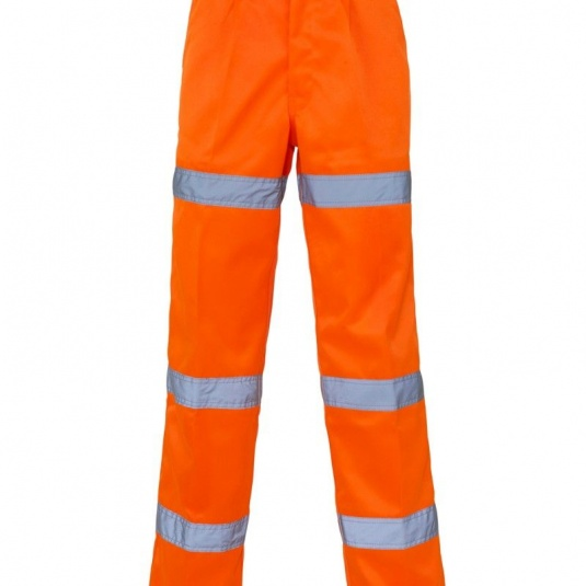 Supertouch Orange Hi-Vis Three-Band Polycotton Trousers