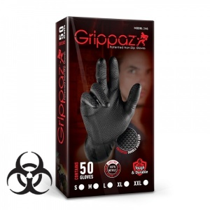 Grippaz Black Semi-Disposable Nitrile Fishscale Gloves (Pack of 50)