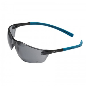 JSP Rigi Black and Blue Smoke-Tinted Slimline Safety Glasses