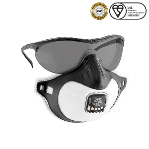JSP FFP3 Tinted Filterspec Goggles and Respiratory Mask with Valve