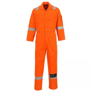 Portwest AF53 Araflame Orange Flame-Resistant Coveralls with Knee Pad Pockets