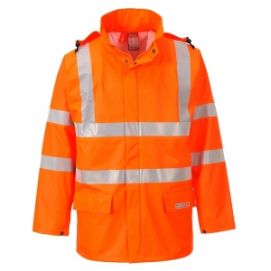 Portwest FR41 Orange Sealtex Flame High-Vis Coat