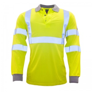 Portwest FR77 FR Anti-Static High-Vis Long-Sleeve Polo Shirt