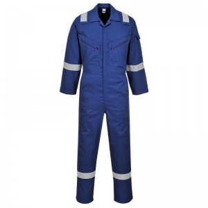 Portwest C814 Blue Iona Cotton Coveralls with Reflective Stripes
