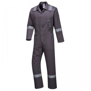 Portwest C814 Grey Iona Cotton Coveralls with Reflective Stripes