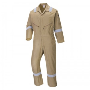 Portwest C814 Khaki Iona Cotton Coveralls with Reflective Stripes
