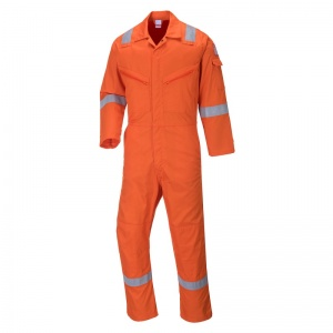 Portwest C814 Orange Iona Cotton Coveralls with Reflective Stripes