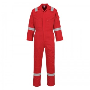 Portwest C814 Red Iona Cotton Coveralls with Reflective Stripes