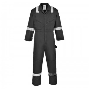 Portwest F813 Black Iona Safety Coveralls with Reflective Tape