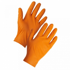 Supertouch PG-901 Orange Disposable Nitrile Diamond Grip Gloves