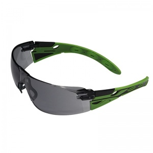 JSP Eiger Black and Green Frame Smoke Lens Safety Glasses