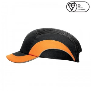 JSP Black/Hi-Vis Orange A1+ Short Peak Hardcap