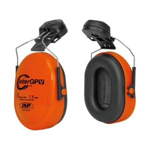 JSP InterGPV Orange Helmet Mounted Ear Defenders SNR 25dB