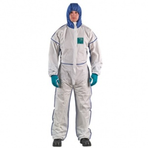 Ansell AlphaTec 1800 Comfort White Coveralls with SMS Hood 195