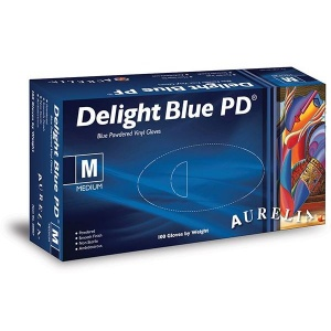 Aurelia Delight Blue PD 38895-9 Powdered Vinyl Gloves