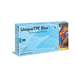 Aurelia Unique TPE 48226-9 Powder-Free Blue Disposable Gloves