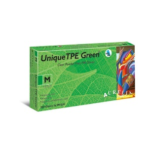 Aurelia Unique TPE 46226-9 Powder-Free Green Disposable Gloves