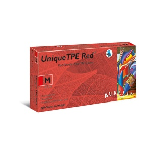 Aurelia Unique TPE 47226-9 Powder-Free Red Disposable Gloves