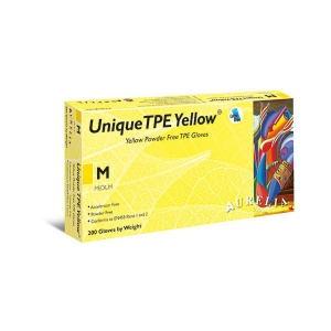Aurelia Unique TPE 45226-9 Powder-Free Yellow Disposable Gloves