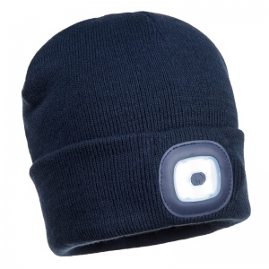 Portwest B029 Navy Beanie with Rechargeable LED Light