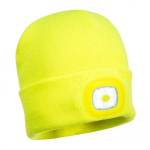 Portwest B029 Yellow Beanie with Rechargeable LED Light