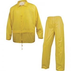 Delta Plus 400 Yellow Waterproof Rainsuit with Pockets