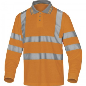 Delta Plus METEOR Hi-Vis Orange Polo with Sleeves