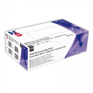 Hand Safe GN830 Indigo Nitrile Extended Cuff Disposable Gloves