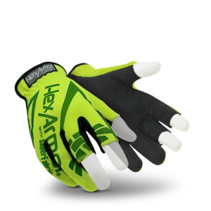 HexArmor Chrome Series 4034 Hi-Vis SlipFit Partially Fingerless Gloves