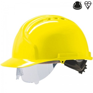 JSP MK7 Yellow Vented Industrial Safety Helmet with Visor