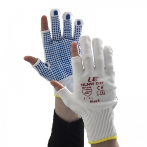 UCi White Nylon Three-Finger PVC-Dotted Gloves NLNW-D3F