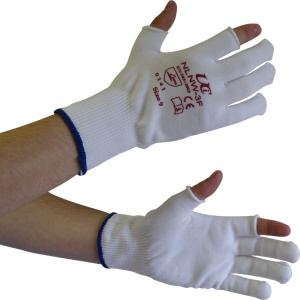 UCi Knitted Partial-Fingerless White Nylon Gloves NLNW-3F