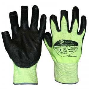 Polyco Matrix Green PU Cut-Resistant Fingerless Gloves MGP-FL