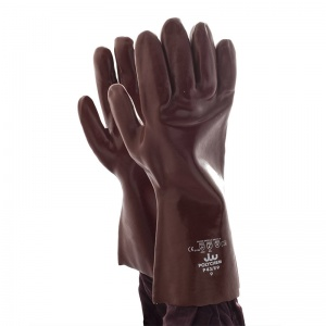 Polyco Polychem Heavyweight Chemical-Resistant Red PVC Gauntlets