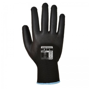 Portwest A122BK 3/4 PU Dipped Pylon Lined Black Gloves