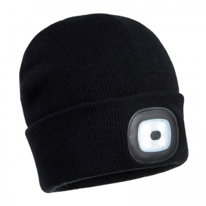 Portwest B029 Black Beanie with Rechargeable LED Light