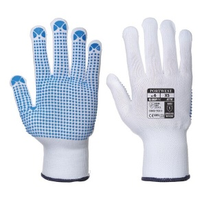 Portwest A110WB PVC Dot Grip White and Blue Gloves