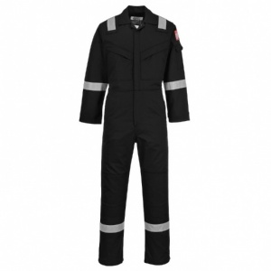 Portwest FR50 Flame-Resistant Anti-Static Black Coveralls (350g)