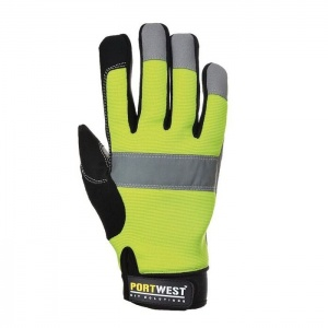 Portwest A710YE Heavy-Duty Hi-Vis Leather Gloves