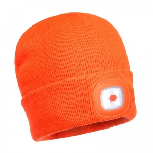 Portwest B029 Orange Beanie with Rechargeable LED Light