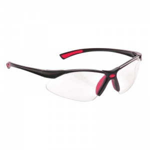 Portwest Clear Lens Bold Pro Safety Glasses with Red Temples PW37RER