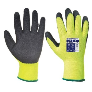 Portwest A140BK Thermal Latex Palm-Coated Black and Yellow Gloves