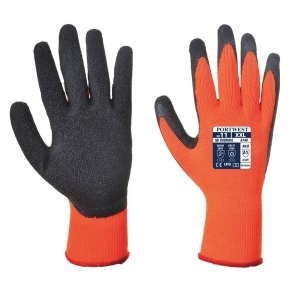 Portwest A140OR Thermal Latex Palm-Coated Orange and Black Gloves